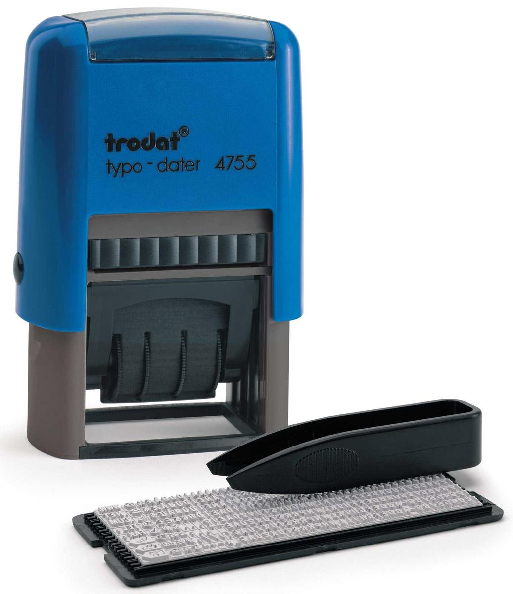 Trodat Датер самонаборный двухстрочный Typo4755Датер самонаборный двухстрочный Trodat Typo с буквенным отображением месяца будет незаменим в отделе кадров или в бухгалтерии любой компании. Прочный корпус гарантирует долговечное бесперебойное использование. Модель отличается высочайшим удобством в использовании и оптимально ложится в руку благодаря эргономичной ручке. Оттиск проставляется практически бесшумно, легким нажатием руки. Улучшенная конструкция, защитное покрытие лент и видимая площадь печати гарантируют качество и точность оттиска. Автоматическое окрашивание. Дата проставляется в центре, сверху и снизу строки для набора текста без рамки. В комплект также входят сменная двухцветная подушка, пинцет, касса символов.