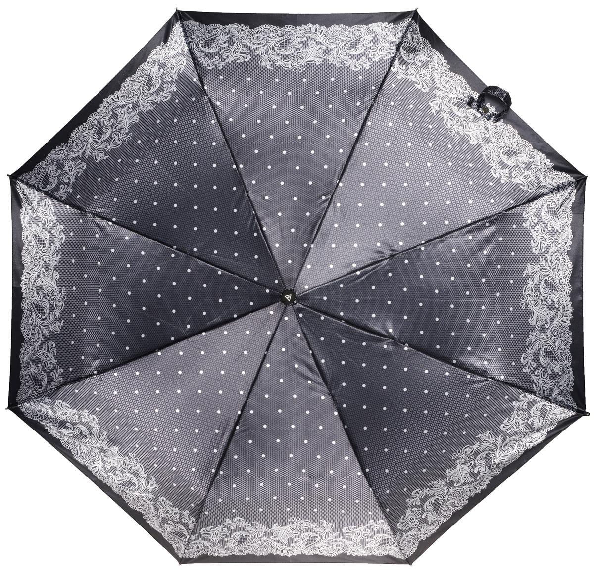 Зонт женский Fabretti, автомат, 3 сложения, цвет: серый. L-16106-16L-16106-16Зонт женский Fabretti, облегченный суперавтомат, 3 сложения