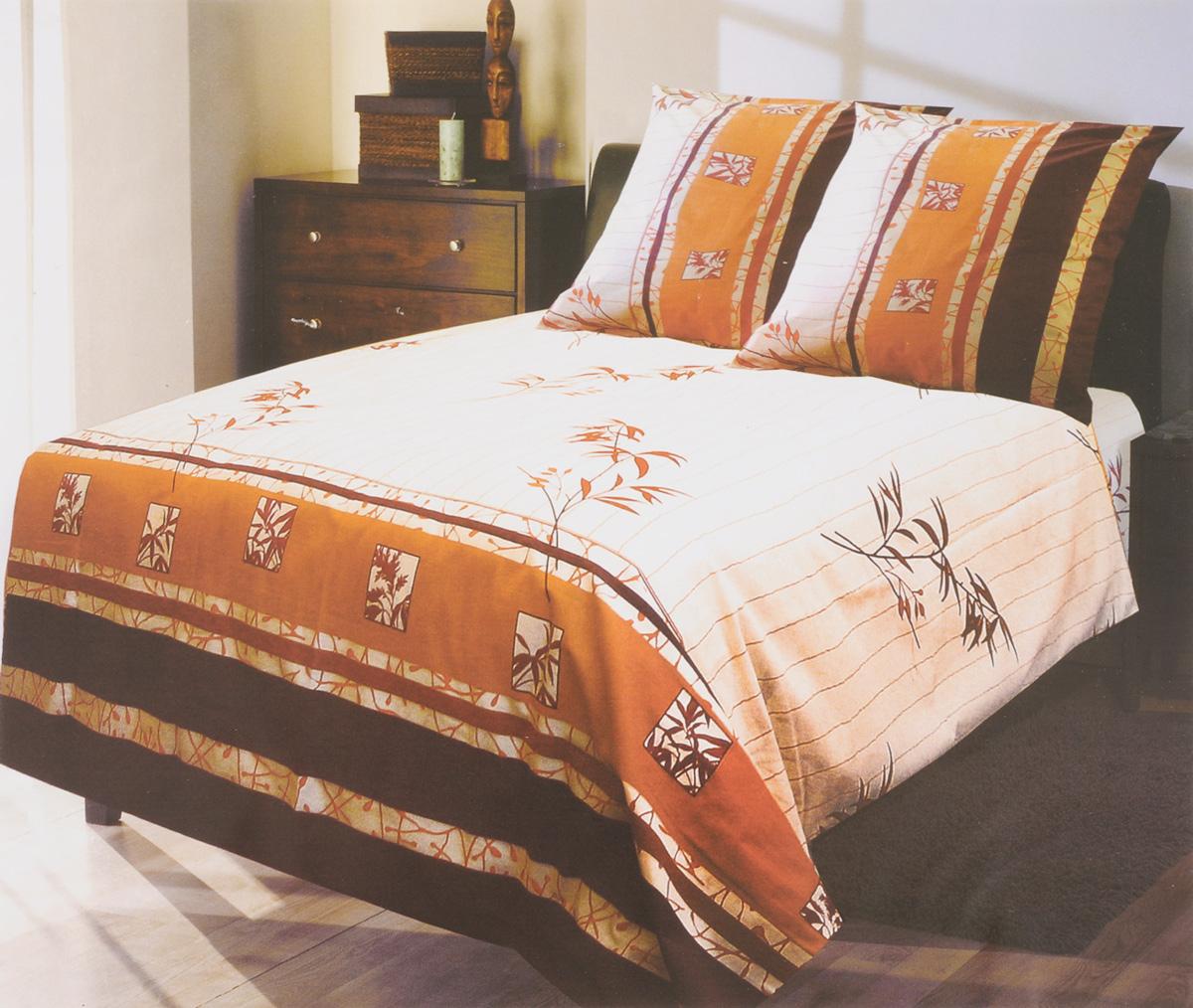 Комплект белья Катюша Ветка, 1,5-спальный, наволочки 70х70, цвет: молочный, оранжевый, бордовыйC-129/3882Комплект постельного белья Катюша Ветка является экологически безопасным для всей семьи, так как выполнен из бязи (100% хлопок). Комплект состоит из пододеяльника, простыни и двух наволочек. Постельное белье оформлено оригинальным рисунком и имеет изысканный внешний вид. Бязь - это ткань полотняного переплетения, изготовленная из экологически чистого и натурального 100% хлопка. Она прочная, мягкая, обладает низкой сминаемостью, легко стирается и хорошо гладится. Бязь прекрасно пропускает воздух и за ней легко ухаживать. При соблюдении рекомендуемых условий стирки, сушки и глажения ткань имеет усадку по ГОСТу, сохранятся яркость текстильных рисунков. Приобретая комплект постельного белья Катюша Ветка, вы можете быть уверенны в том, что покупка доставит вам и вашим близким удовольствие и подарит максимальный комфорт.
