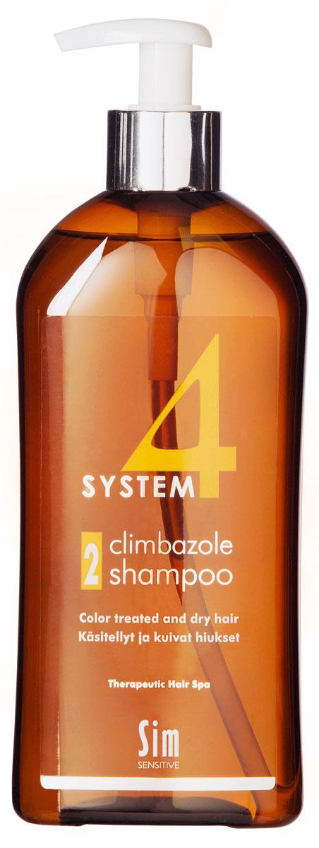 SIM SENSITIVE Терапевтический шампунь № 2 SYSTEM 4 Climbazole Shampoo 2, 500 мл5312КАК РАБОТАЕТ: салициловая кислота активно очищает кожу головы, предотвращая образование сухой перхоти, а климбазол и пироктон оламин восстанавливают микрофлору кожи головы. Гидролизованные протеины, гидролизованный коллаген, масло подсолнечника ухаживают за сухой кожей головы, поврежденными стержнями волос и продлевают стойкость цвета окрашенных волос. Розмарин и ментол обладают освежающим антибактериальным эффектом, улучшают микроциркуляцию крови. рН-4,7. БОРЕТСЯ С: сухостью кожи головы, зудом, раздражением кожи головы, сухой перхотью, cухостью, ломкостью волос, расслоением стержня волоса непослушностью и поврежденностью волос после окрашивания или химической обработки
