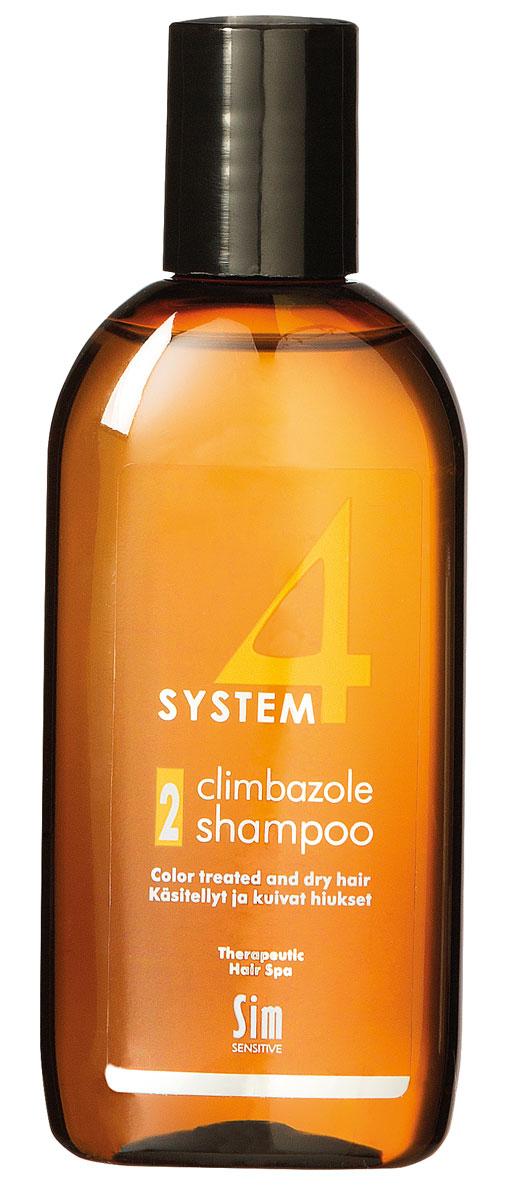 Sim Sensitive Терапевтический шампунь № 2 SYSTEM 4 Climbazole Shampoo 2, 100 мл5412КАК РАБОТАЕТ: салициловая кислота активно очищает кожу головы, предотвращая образование сухой перхоти, а климбазол и пироктон оламин восстанавливают микрофлору кожи головы. Гидролизованные протеины, гидролизованный коллаген, масло подсолнечника ухаживают за сухой кожей головы, поврежденными стержнями волос и продлевают стойкость цвета окрашенных волос. Розмарин и ментол обладают освежающим антибактериальным эффектом, улучшают микроциркуляцию крови. рН-4,7. БОРЕТСЯ С: сухостью кожи головы, зудом, раздражением кожи головы, сухой перхотью, cухостью, ломкостью волос, расслоением стержня волоса непослушностью и поврежденностью волос после окрашивания или химической обработки