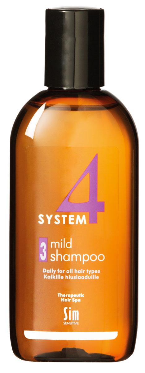 Sim Sensitive Терапевтический шампунь № 3 SYSTEM 4 Mild Climbazole Shampoo 3,100 мл5413КАК РАБОТАЕТ: шампунь рекомендуется для чувствительной кожи головы. Сали- циловая кислота мягко очищает, климбазол и пироктон оламин восстанавливают микрофлору кожи головы. Гидрогенол снимает раздражение, увлажняет и защищает волосы от воздействия уль- трафиолетовых лучей. Ментол и розмарин способствуют улучше- нию питания волосяного фолликула за счет своих стимулирующих и дезинфицирующих свойств. рН-4,7. Успокаивает кожу головы после окрашивания. БОРЕТСЯ С: раздражениемкожи головы и с элементами перхоти с чувствительностью кожи головы рецедивами после курса лечения волос и кожи головы