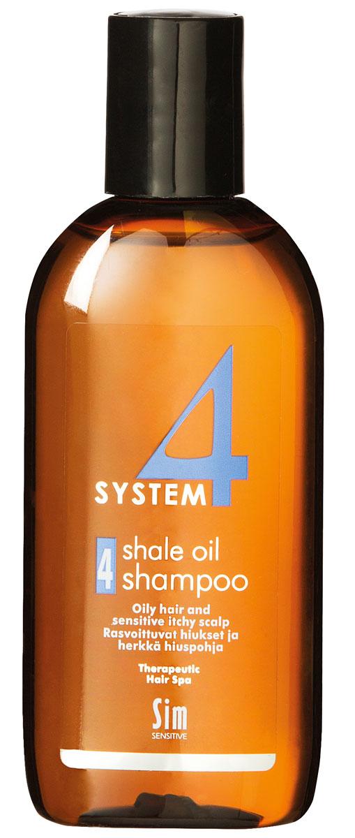 Sim Sensitive Терапевтический шампунь № 4 SYSTEM 4 Shale Oil Shampoo 4,100 мл5414КАК РАБОТАЕТ: салициловая кислота активно очищают кожу головы, сланцевое масло регулирует активность сальных желез. Розмарин и ментол освежают и дезинфицируют кожу головы. Пироктон оламин и климбазол устраняют грибок и восстанавливают микрофлору кожи головы. Входящие в состав амфотерные ПАВы, обладают мягкими моющими свойствами. БОРЕТСЯ С: чрезмерной жирностью волос и кожи головы зудом кожи головы жирной перхотью