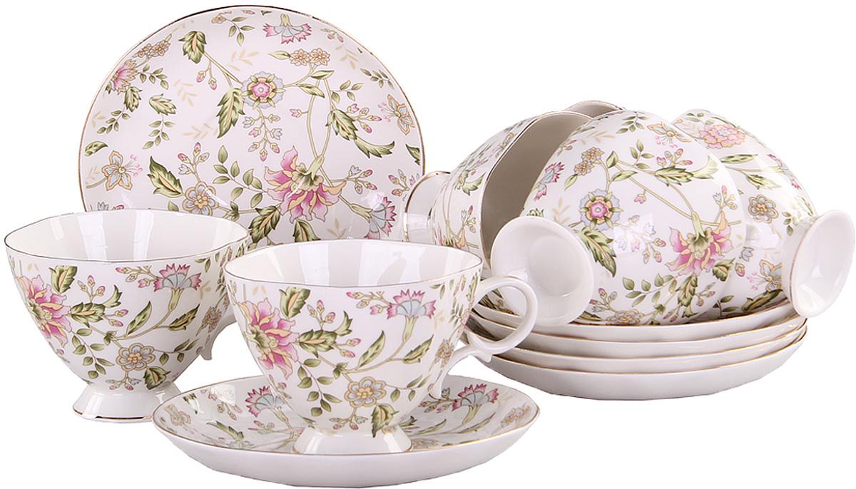 Набор чайный Patricia Фиалка, 12 предметовIM04-0300Чайный набор Patricia Фиалка состоит из 6 чашек и 6 блюдец. Изделия выполнены из высококачественного фарфора и оформлены цветочным принтом. Такой набор изящно дополнит сервировку стола к чаепитию. Не рекомендуется мыть в посудомоечной машине и использовать в микроволновой печи. Объем чашки: 220 мл. Размер чашки (по верхнему краю): 10 х 10 см. Высота чашки: 8 см. Диаметр блюдца: 15,5 см. Высота блюдца: 2,5 см.