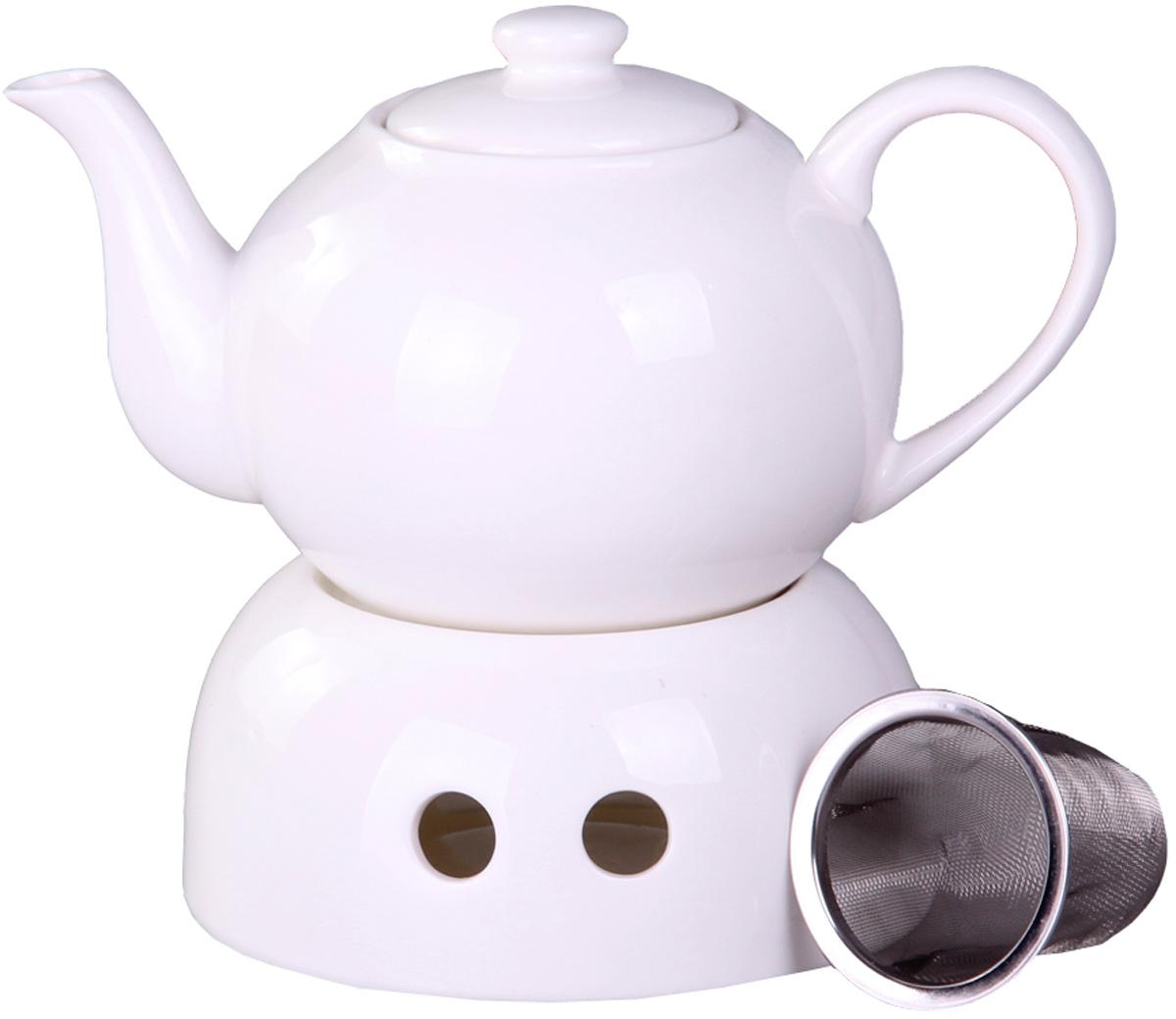 Чайник заварочный Patricia, с подогревом, с фильтром, 700 млIM04-0901Чайник Patricia выполнен из керамики. Изделие располагается на керамической подставке, внутри которой устанавливается чайная свеча, поддерживающая температуру воды. Чайник оснащен съемным металлическим фильтром. Цейлонский черный, зеленый с жасмином, травяной или ягодный - любой чай в таком чайнике станет для вас наслаждением, поводом отдохнуть и перевести дыхание. Настоящие ценители этого напитка пьют только заварной чай, именно поэтому такой чайник - незаменимый предмет на кухне у гостеприимной хозяйки. Объем чайника: 700 мл.