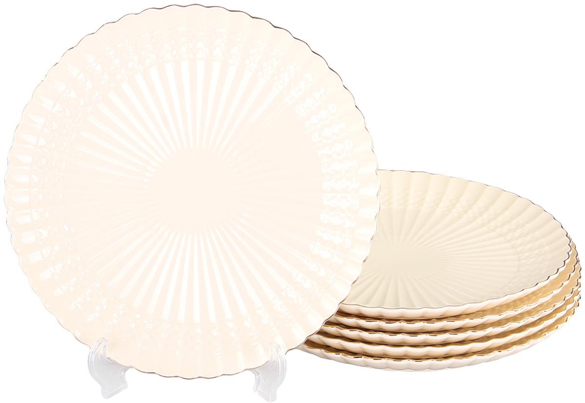 Тарелка обеденная Patricia, диаметр 26 см,6 шт. IM52-4010IM52-4010Набор состоит из шести обеденных тарелок диаметром 26 см. Все изделия выполнены из фарфора высокого качества и украшены позолотой. Данный товар имеет подарочную упаковку.