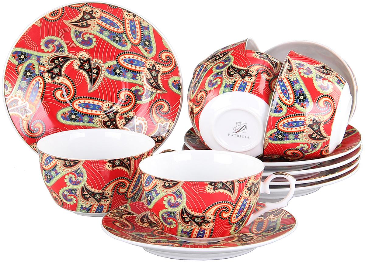 Чайный сервиз Patricia, 12 предметов. IM56-0722IM56-0722Чайный набор выполнен из фарфора высшего качества,украшен ярким экзотическим узором. Этот набор обязательно впишется в любой уголок вашей кухни и станет стильным дополнением к ней.