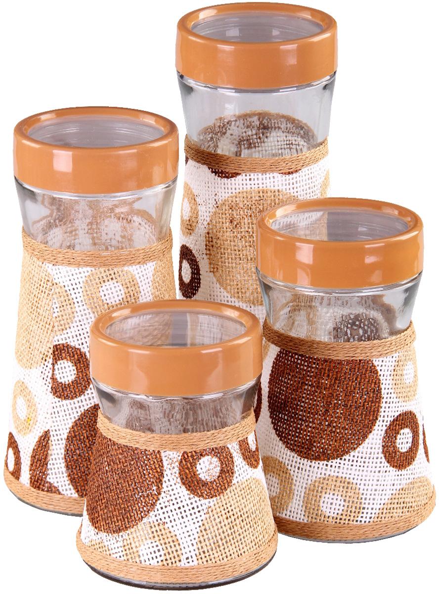 Набор банок Patricia, 4 предмета. IM99-3916IM99-3916Набор банок для сыпучих продуктом выполнен из стекла и плети. В них можно хранить как соль или сахар, так и различные крупы.