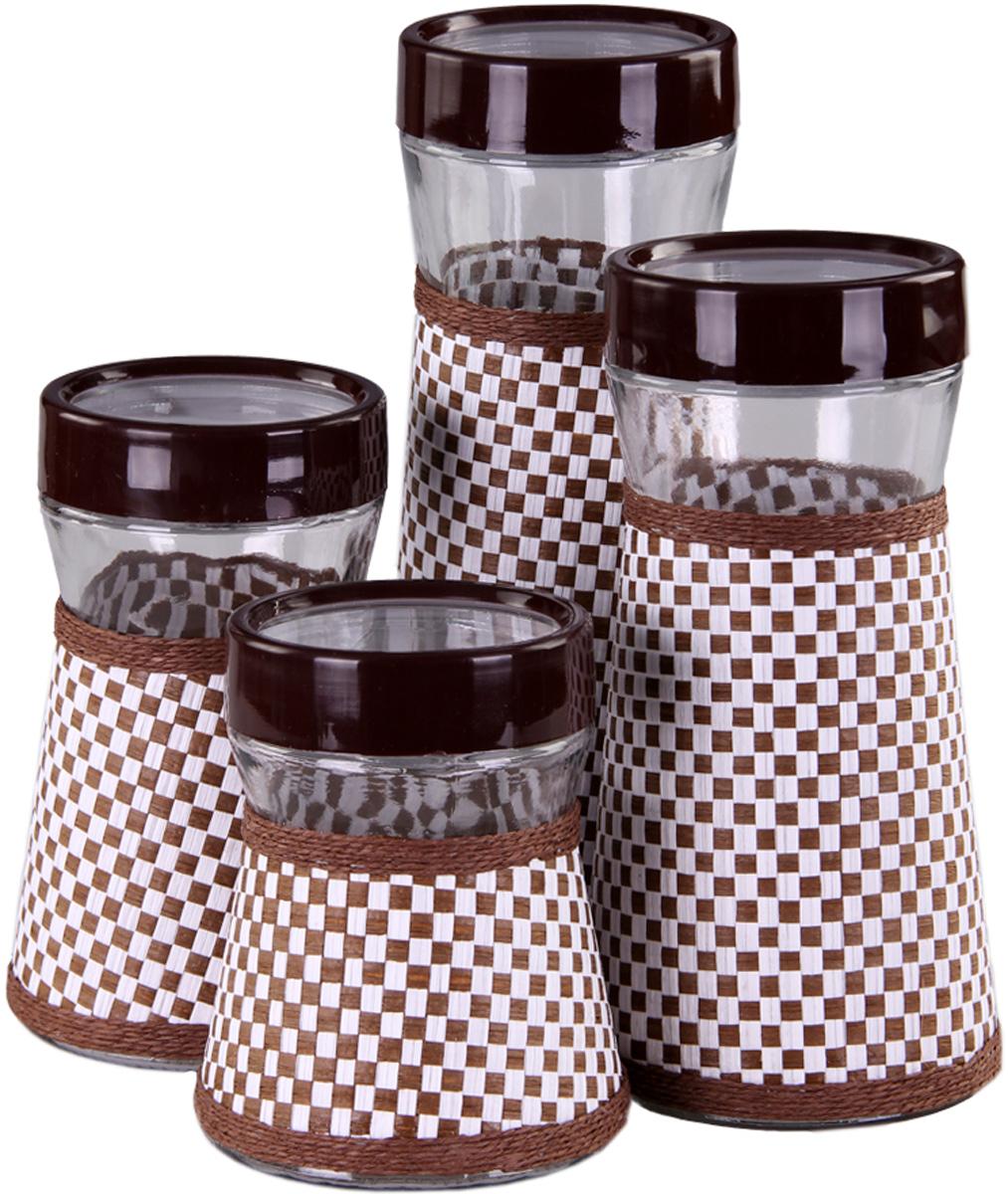 Набор банок Patricia, 4 предмета. IM99-3917IM99-3917Набор банок для сыпучих продуктом выполнен из стекла и плети. В них можно хранить как соль или сахар, так и различные крупы.