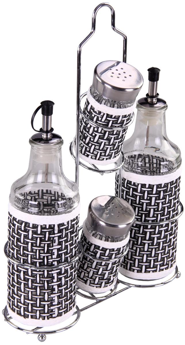 Набор для специй Patricia, 4 предмета. IM99-3919IM99-3919Набор для специй на металлической подставке выполнен из стекла и плети. В них можно хранить как соль или сахар, так и различные специи.