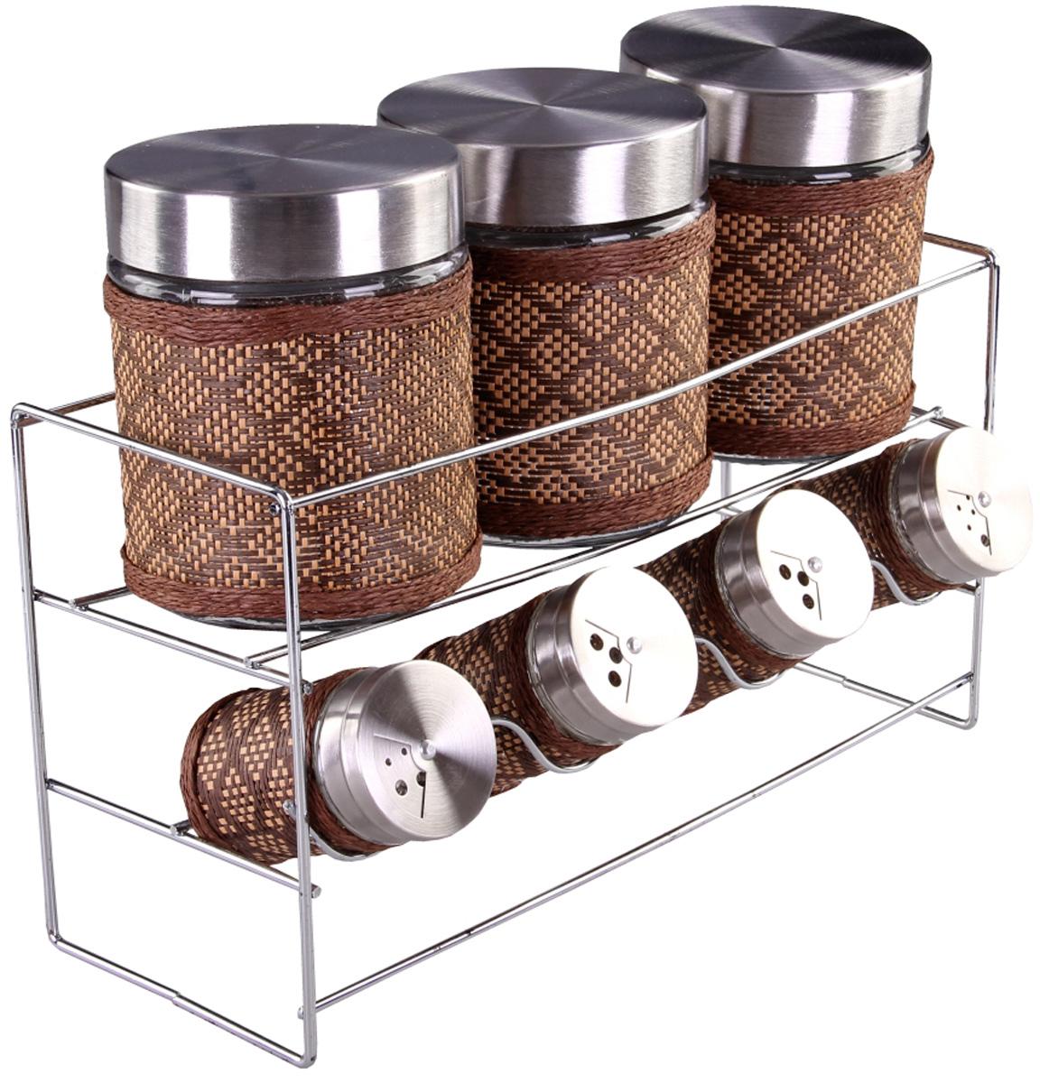 Набор банок Patricia, 7 предметов. IM99-3922IM99-3922Набор для сыпучих продуктов включает в себя 7 банок различных размеров и металлическую подставку. Плотно закручивающая крышка на банке позволит хранить чай,кофе и многие другие сыпучие продукты. В свою очерень набор солонок, входящий в комплект, позволит хранить специи должным образом. Дизайн таких банок украсит кухню любой хозяйки.