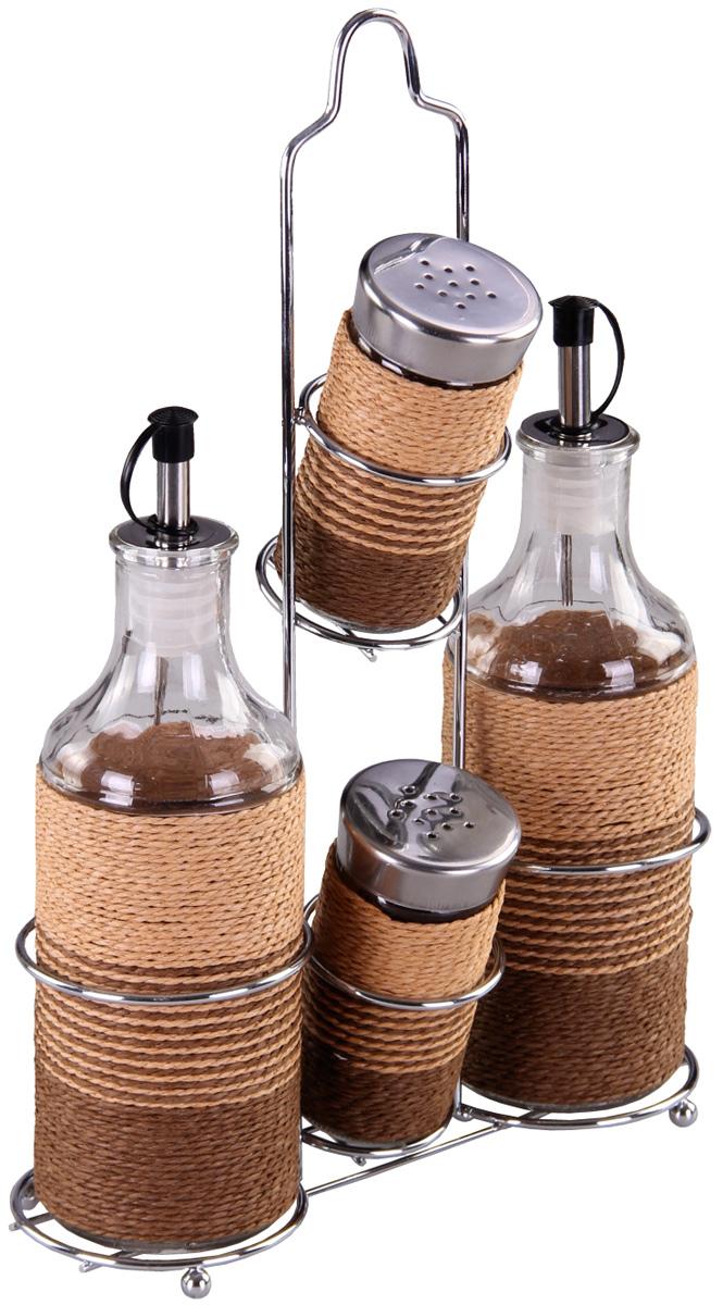 Набор для специй Patricia, 4 предмета. IM99-3929IM99-3929Набор для специй на металлической подставке выполнен из стекла и плети. В них можно хранить как соль или сахар, так и различные специи.