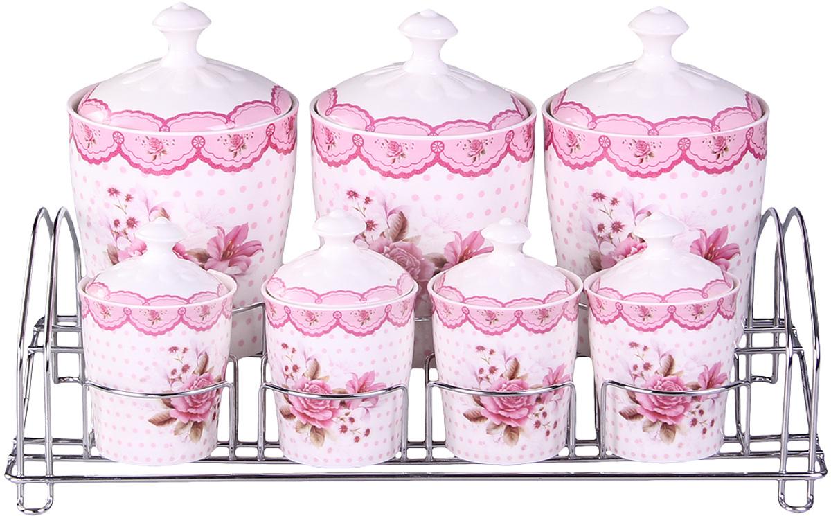 Набор банок Patricia, на подставке, 7 предметов, 800 мл, 200 мл. IM99-5203IM99-5203Набор банок на металлической подставке выполнены из высококачественного фарфора, включает в себя 7 банок различных размеров. Плотно закручивающая крышка на банке позволит хранить чай,кофе и многие другие сыпучие продукты. А дизайн таких банок украсит кухню любой хозяйки.