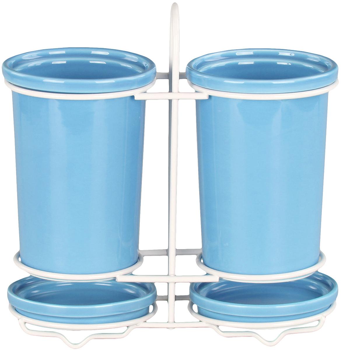 Подставка Patricia для столовых приборов. IM99-5232IM99-5232Подставка для столовых приборов и поддон выполнены из керамики, а специальный держатель из хромированной стали. Применение в производстве специальных эмалей позволяет керамике, используемой в этом изделии, соперничать по своим эстетическим свойствам с фарфором. Поддон для сбора воды легко мыть благодаря удобной конструкции держателя.