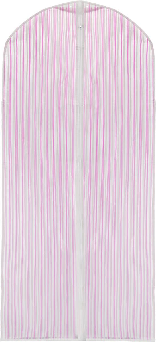 """Чехол для одежды """"Eva"""", цвет: розовый, белый, 135 х 60 см. Е-16301"""