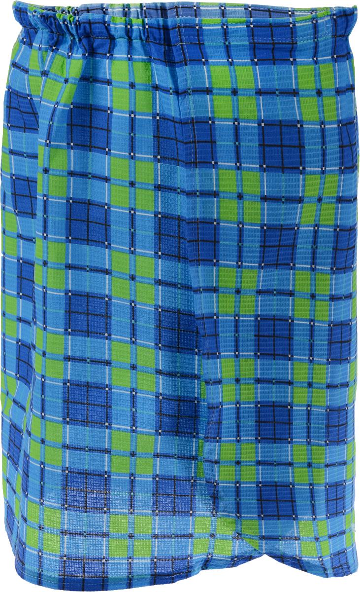 Килт для бани и сауны Невский банщик, мужской, цвет: синий, салатовый, черный, длина 60 смБН88_синий, салатовыйМужской килт для бани и сауны Невский банщик выполнен из натурального хлопка. Килт хорошо поглощает влагу и дарит необыкновенную мягкость и комфорт, ему не страшна многократная стирка - он не теряет своей яркости. Банный килт - это многофункциональная накидка специального покроя с резинкой и застежкой - липучкой. В парилке можно лежать на нем, после душа вытираться. Такой килт идеально подойдет для любителя бани или сауны. Длина килта: 60 см. Ширина килта: 142 см.