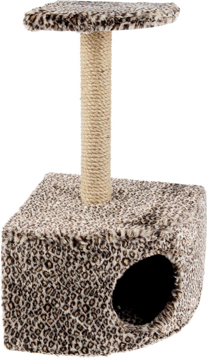 Домик-когтеточка ЗооМарк, угловой, с полкой, цвет: коричневый, черный, бежевый, 37 х 37 х 68 см111_гепардУгловой домик-когтеточка ЗооМарк выполнен из высококачественного дерева и искусственного меха. Изделие предназначено для кошек. Ваш домашний питомец будет с удовольствием точить когти о специальный столбик, изготовленный из джута. А отдохнуть он сможет либо на площадке, находящейся наверху столбика, либо в расположенном внизу домике. Общий размер: 37 х 37 х 68 см. Размер домика: 37 х 37 х 26 см. Размер полки: 25 х 25 см.