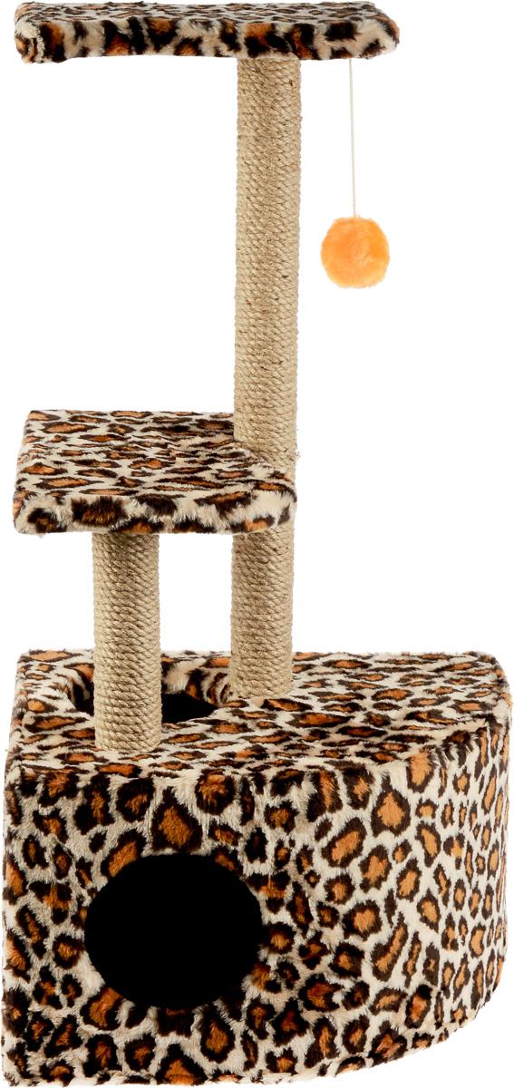 Домик-когтеточка ЗооМарк Мурзик, угловой, с полками, цвет: коричневый, черный, бежевый, 51 х 37 х 99 см133_бежевый, леопардДомик-когтеточка ЗооМарк Мурзик выполнен из высококачественного дерева и обтянут искусственным мехом. Изделие предназначено для кошек. Ваш домашний питомец будет с удовольствием точить когти о специальные столбики, изготовленные из джута. А отдохнуть он сможет либо на полках, либо в расположенном внизу домике. Общий размер: 51 х 37 х 99 см. Размер домика: 51 х 37 х 31 см. Размер полок: 36 х 26 см.