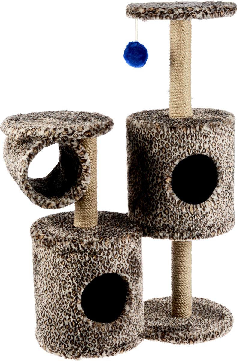 Игровой комплекс для кошек ЗооМарк Базилио, цвет: светло-коричневый, черный, бежевый, 70 х 31 х 97 см145_гепардИгровой комплекс для кошек ЗооМарк Базилио выполнен из высококачественного дерева и обтянут искусственным мехом. Изделие предназначено для кошек. Ваш домашний питомец будет с удовольствием точить когти о специальные столбики, изготовленные из джута. А отдохнуть он сможет либо на полках разной высоты, либо в домиках. Также комплекс оснащен подвесной игрушкой, привлекающей внимание кошки. Общий размер: 70 х 31 х 97 см. Размер домиков: 31 х 31 х 32 см. Диаметр полок: 31 см.
