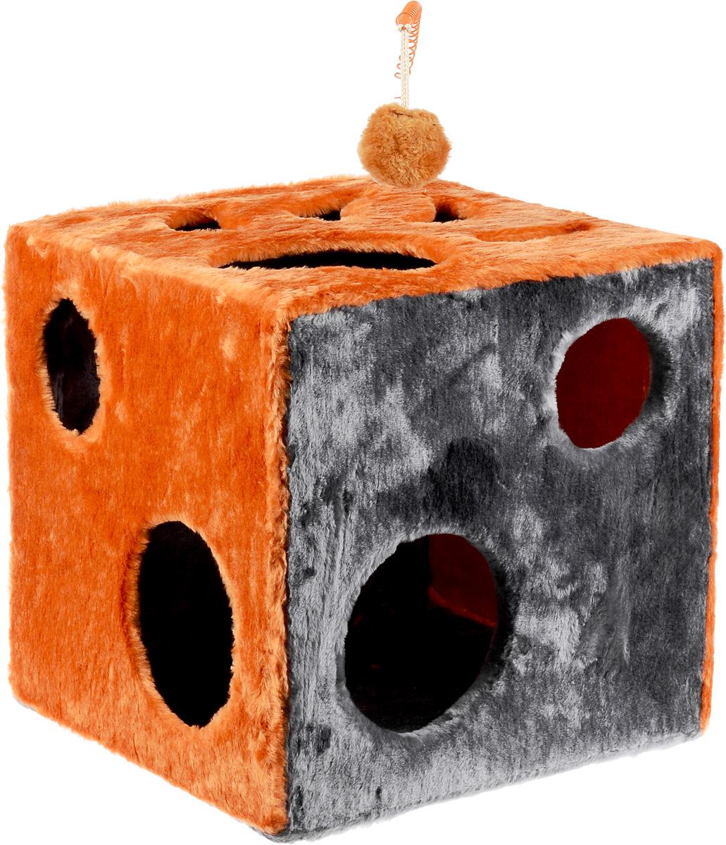 Домик для кошек ЗооМарк Кубик с лапкой, с игрушкой, цвет: оранжевый, серый, 42 х 42 х 42 см104_оранжевый, серыйДомик ЗооМарк Кубик с лапкой непременно станет любимым местом отдыха вашего домашнего животного. Он изготовлен из высококачественного дерева и обтянут искусственным мехом. Домик оформлен крупными отверстиями в виде лапы животного и кружков. Оригинальный домик для животных - отличное место, чтобы спрятаться. Также там можно хранить свои охотничьи трофеи. Сверху расположена игрушка на пружине.