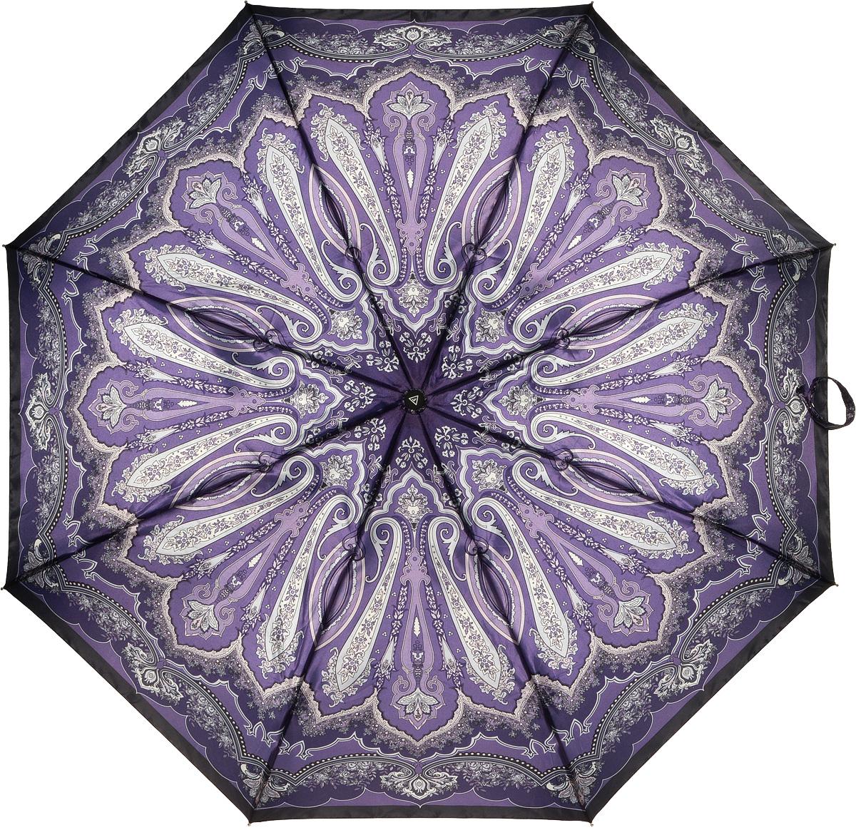 Зонт женский Fabretti, полный автомат, 3 сложения, цвет: мультиколор. S-16100-6S-16100-6Зонт женский Fabretti, суперавтомат, 3 сложения, сатин