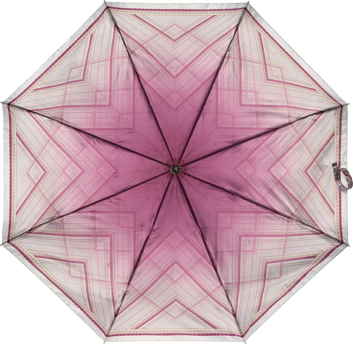 Зонт женский Fabretti, автомат, 3 сложения, цвет: бордовый. L-16107-22L-16107-22Зонт женский Fabretti, облегченный суперавтомат, 3 сложения