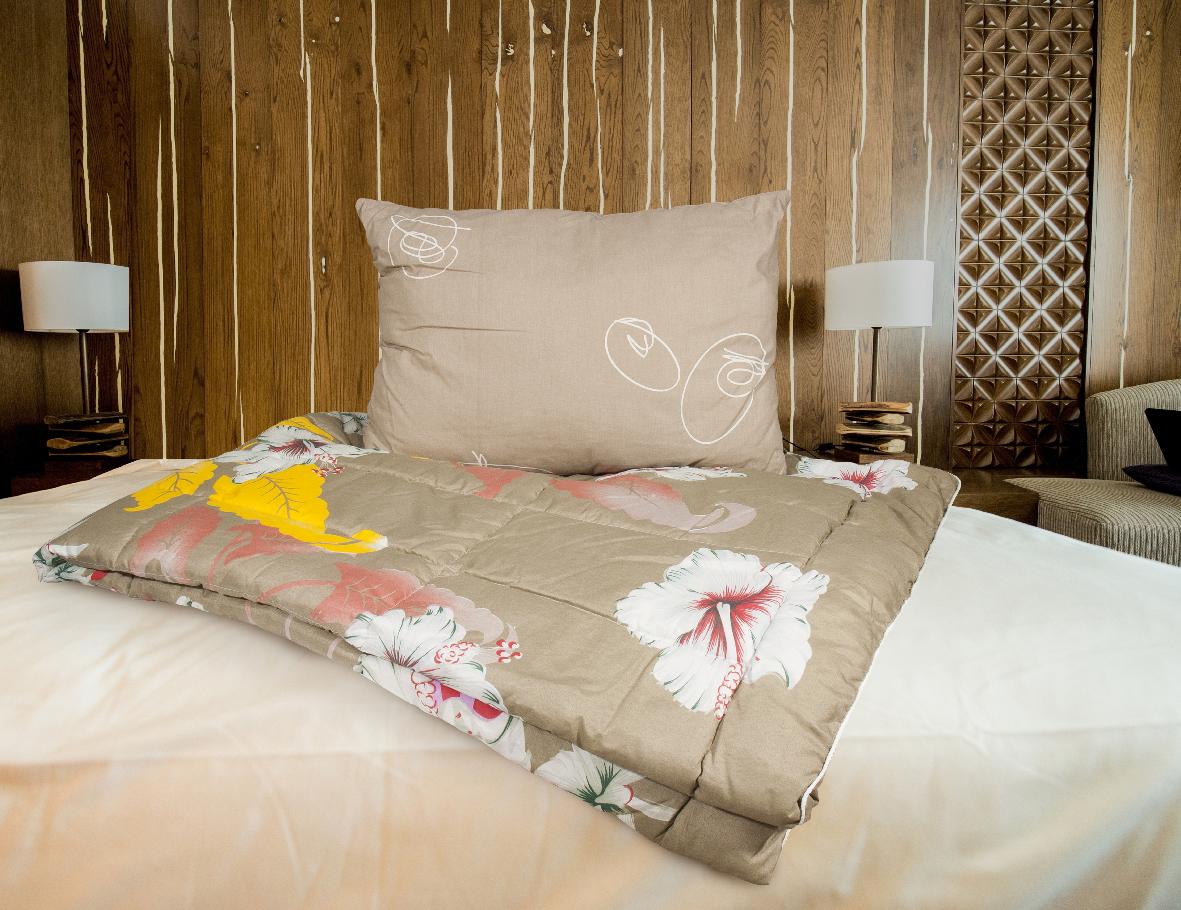 Набор для сна Прогресс-оптим Дачный: одеяло, подушка174065Набор для сна Прогресс-оптим Дачный состоит из легкого летнего одеяла, чехол которого выполнен из полиэстера, наполнитель Airsoft (эллипсообразное полиэстеровое волокно), и подушки. Размер одеяла: 140 х 205 см.