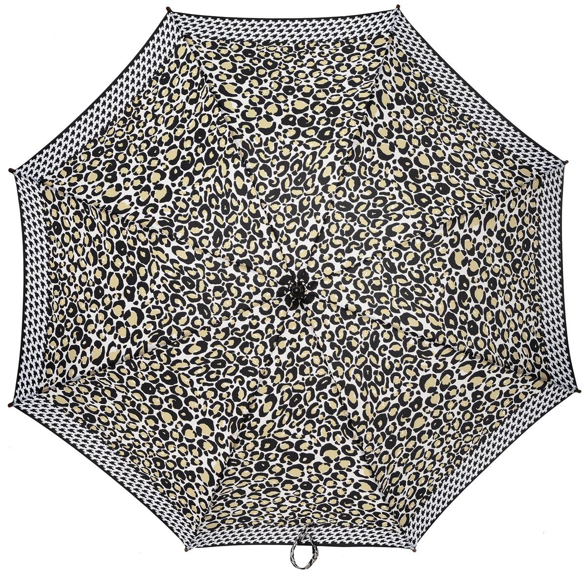 Зонт-трость женский Fulton, механический, цвет: белый, черный, бежевый. L056-3039L056-3039 LeopardBorderСтильный зонт-трость Fulton даже в ненастную погоду позволит вам оставаться стильной и элегантной. Каркас зонта включает 8 спиц из фибергласса и состоит из стержня, изготовленного из прочной и ветроустойчивой стали. Купол зонта выполнен из высококачественного полиэстера. Рукоятка закругленной формы, разработанная с учетом требований эргономики, изготовлена из натурального дерева. Зонт механического сложения: купол открывается и закрывается вручную до характерного щелчка. Такой зонт не только надежно защитит вас от дождя, но и станет стильным аксессуаром, который идеально подчеркнет ваш неповторимый образ.