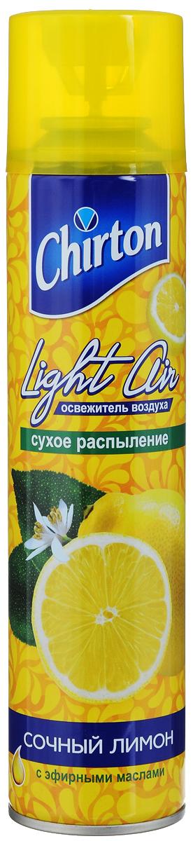 Освежитель воздуха Chirton Сочный лимон, 300 мл45620Освежитель воздуха Chirton Сочный лимон предназначен для устранения неприятных запахов в различных помещениях. Высокое качество позволит быстро избавиться от неприятных запахов в любом уголке вашего дома. Современный дизайн и силуэт Chirton Сочный лимон гармонично впишется в любой интерьер. Состав: пропан/бутан/изобутан >30%, растворитель Товар сертифицирован.