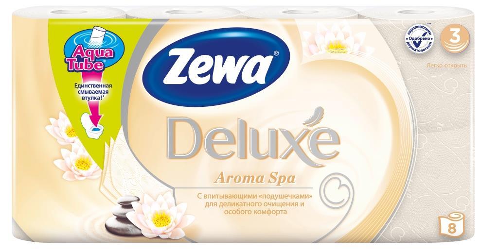 Zewa Туалетная бумага Deluxe. Арома Спа, трехслойная, цвет: шампань, 8 рулонов02.03.05.5367Ароматизированная туалетная бумага Zewa Deluxe. Арома Спа обладает приятным тонким ароматом ароматического масла. Трехслойные листы цвета шампань имеют рисунок с тиснением. Бумага мягкая, нежная, но в тоже время прочная, не расслаивается и отрывается строго по линии перфорации.