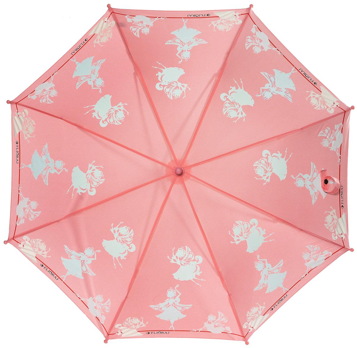 Зонт детский Flioraj, механика, трость, цвет: персиковый, светло-голубой. 051201051201 FJОчаровательный зонт для детей в нескольких цветах. Маленькие феи будто случайно спустились на зонт и теперь кружатся в радужном танце. Детский зонтик Flioraj с поверхностью реагирующей на воду, при намокании рисунок становится цветным, он обязательно понравится Вам и Вашему ребенку! Предназначен для детей младшего и среднего школьного возраста. Для удобства предусмотрена безопасная технология открывания и закрывания зонта. Спицы зонта изготовлены из долговечного, но при этом легкого фибергласса, что делает его ветроустойчивым и прочным.