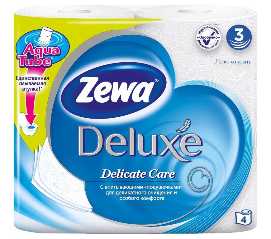 Туалетная бумага Zewa Deluxe. Pure White, 4 рулона3228Трехслойная неароматизированная туалетная бумага Zewa Deluxe. Pure White мягкая, нежная, но в тоже время прочная, с отрывом по линии перфорации.
