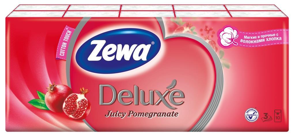 """Zewa Бумажные платочки """"Deluxe. Гранат"""", 10 х 10 шт"""