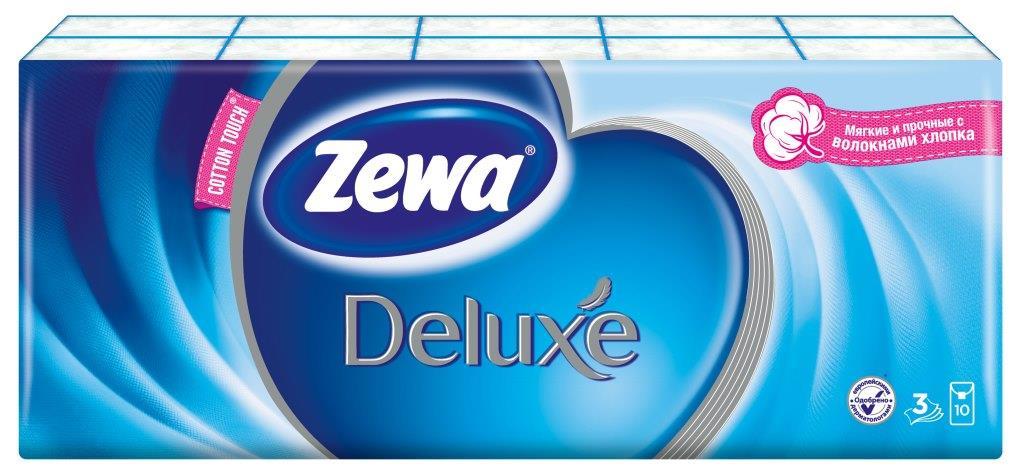 Набор трехслойных бумажных платков Zewa Deluxe, 10 х 10 шт51174Бумажные гигиенические платки Zewa Deluxe, изготовленные из 100% натуральной целлюлозы, подходят для детей и взрослых. Они обладают уникальными свойствами, так как всегда остаются мягкими на ощупь, прочными и отлично впитывающими влагу и могут быть пригодными в любой ситуации. Платочки не содержат флуоресцентных добавок, парфюмерных отдушек и красителей. Не раздражают кожу. Удобная небольшая упаковка позволяет носить платочки в кармане.