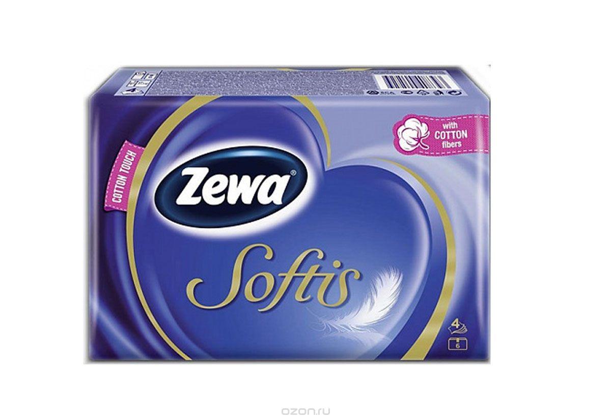 "Zewa Бумажные платочки ""Softis"", 6 х 10 шт"