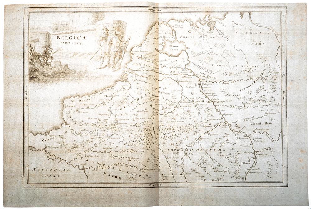 Географическая карта Бельгии. Гравюра. Западная Европа, XVII век