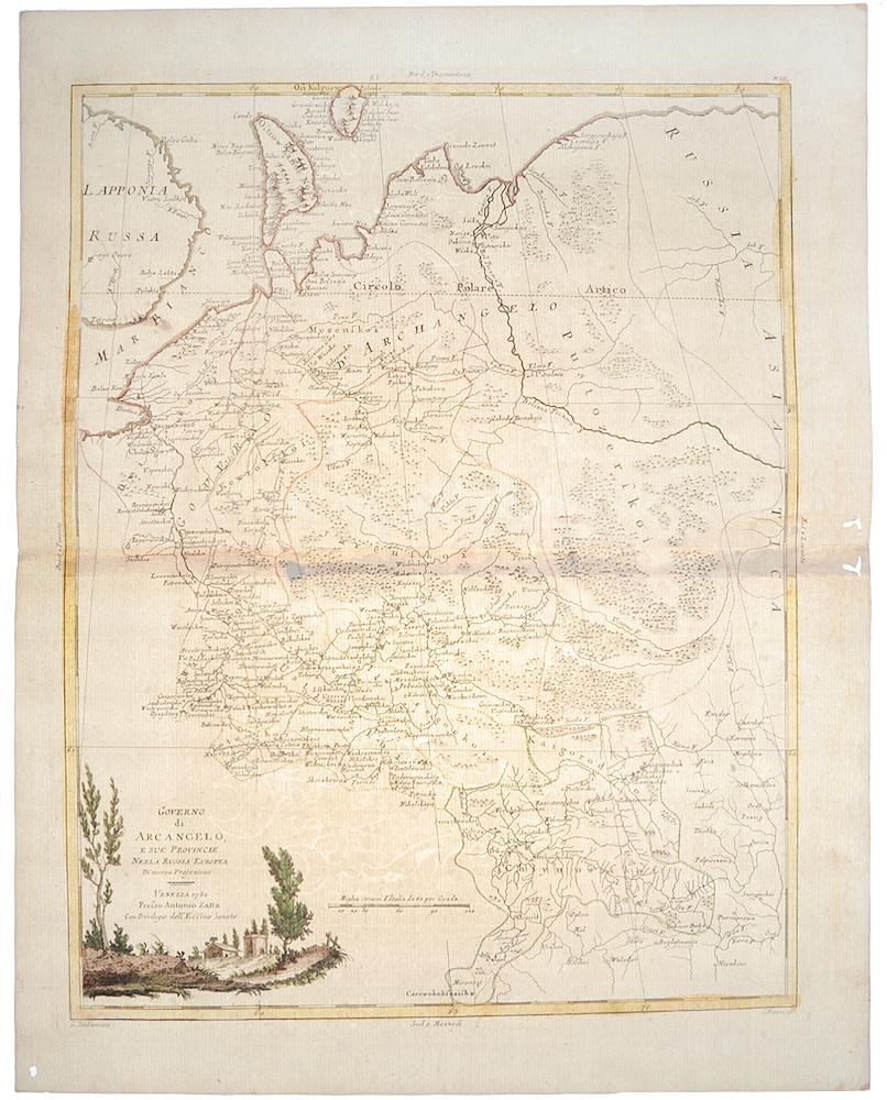 Географическая карта Архангельской губернии. Гравюра, ручная раскраска. Венеция, 1782 год