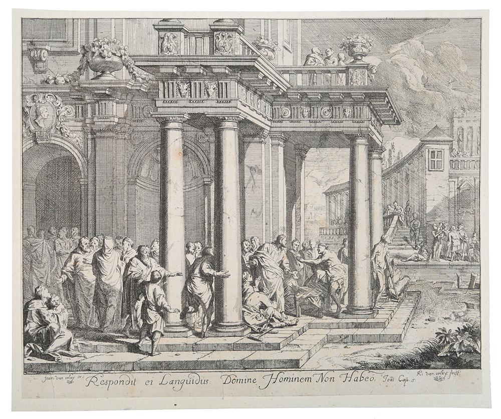 Respondit ei Languidus Domine Hominem Non Habeo. Гравюра. Фландрия, конец XVII векаНВА 170816-32Гравюра на меди конца XVII века. Гравер Рихард ван Орлей (1663-1732). С оригинала художника Яна ван Орлея (1665-1735). Гравюра наклеена на лист плотной белой бумаги. Размер листа 26 х 21,5 см, размер изображения 24,7 х 20,5 см. Гравюра иллюстрирует главу 5 Евангелия от Иоанна (ст.7-9): Иисус говорит им: наполните сосуды водою. И наполнили их до верха. И говорит им: теперь почерпните и несите к распорядителю пира. И понесли. Когда же распорядитель отведал воды, сделавшейся вином, — а он не знал, откуда это вино, знали только служители, почерпавшие воду. Сохранность хорошая. Не подлежит вывозу за пределы Российской Федерации.
