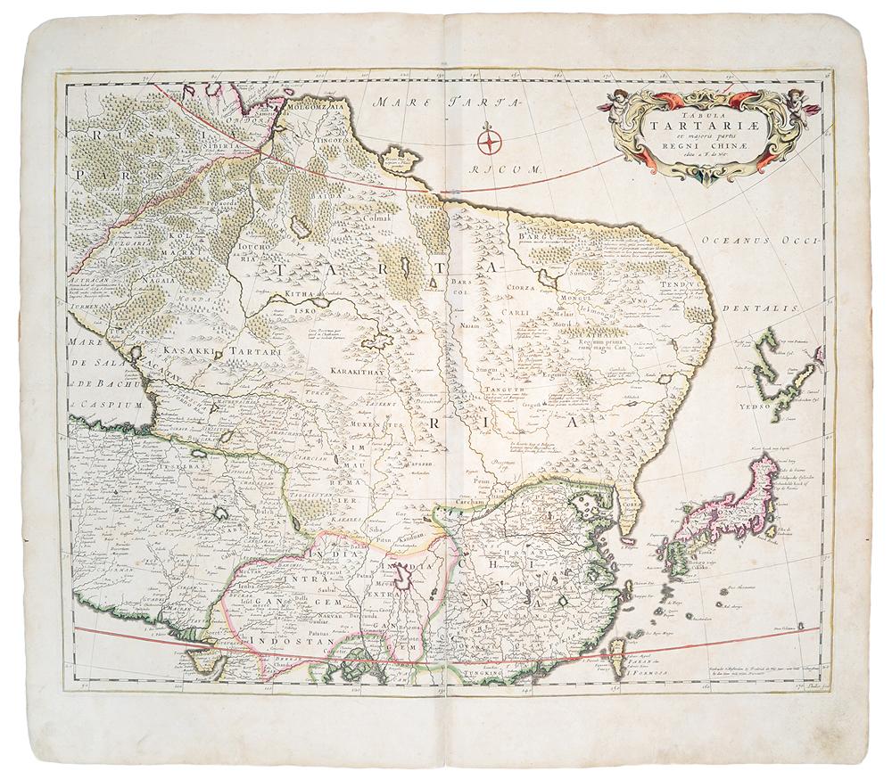 Географическая карта Тартарии (Китай). Гравюра. Западная Европа, XVII век