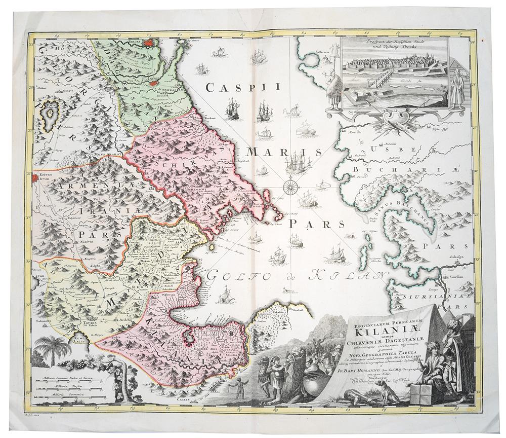 Географическая карта стран Каспийского бассейна: Грузия, Дагестан, Иранская Армения, Ширван, Мидия. Гравюра, ручная раскраска. Нидерланды, 1720-е - 1730-е гг.