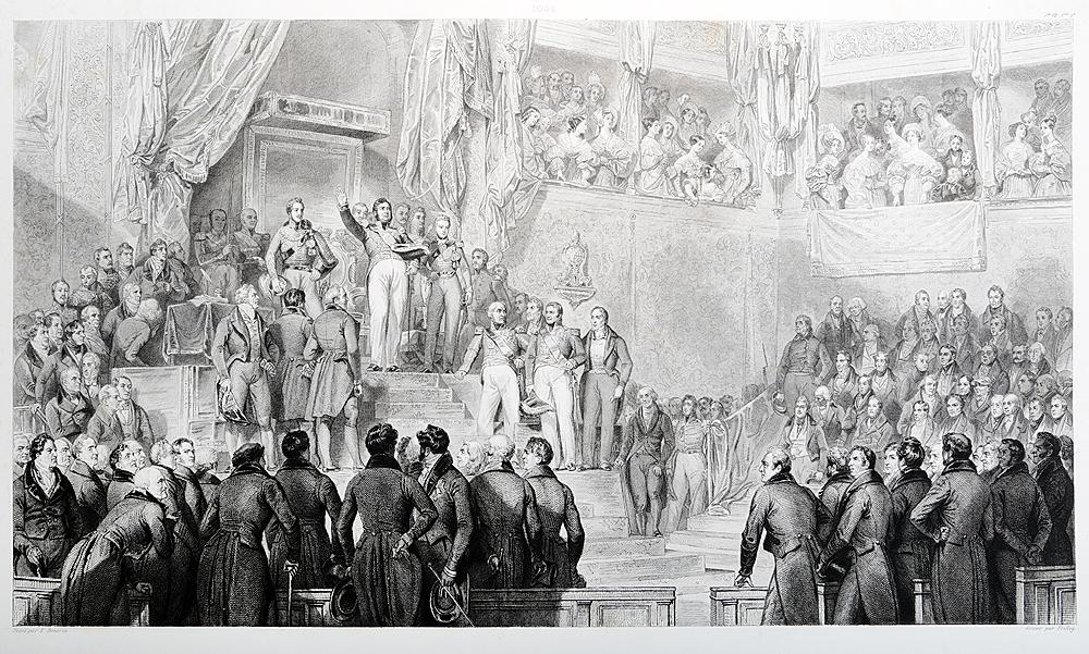 Коронация Луи-Филиппа, герцога Орлеанского 9 августа 1830 года. Офорт. Франция, середина XIX века