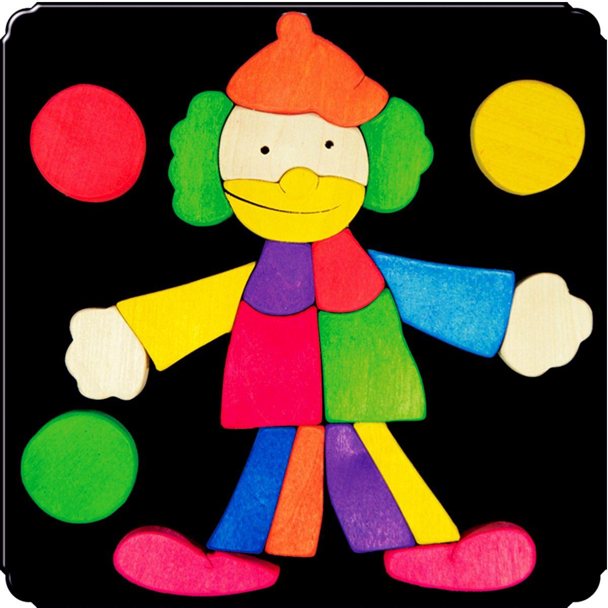 Деревяшкино Пазл для малышей Клоун 108108Красочная игрушка-головоломка из натурального дерева на магнитной доске. Незаменима в машине, поездке – в любом месте, где Вашему малышу удобно играть. Удивительный мир ярких красок и фантазий везде с Вами! Каждая деталька мозаики крепко держится на магнитной доске. Ваш юный фантазер сможет не только решить сложную задачу: собрать головоломку как на картинке, но и, используя фантазию, сможет создать уникальные и неповторимые композиции. Объединяйте несколько наборов – будет интереснее! Все детали выполнены из натурального дерева, окрашены безопасной пищевой краской. Деревянные игрушки дают возможность ощутить структуру, плотность, вес, запах материала. Ребенок получает правдивую информацию об окружающем мире. Развивает: мелкую моторику, абстрактное и логическое мышление, понимание цветов, геометрических форм. Методические рекомендации: объясните малышу почему детальки держатся на доске. Объясните как правильно собрать мозаику, но не помогайте в трудных местах. Попросите ребенка...
