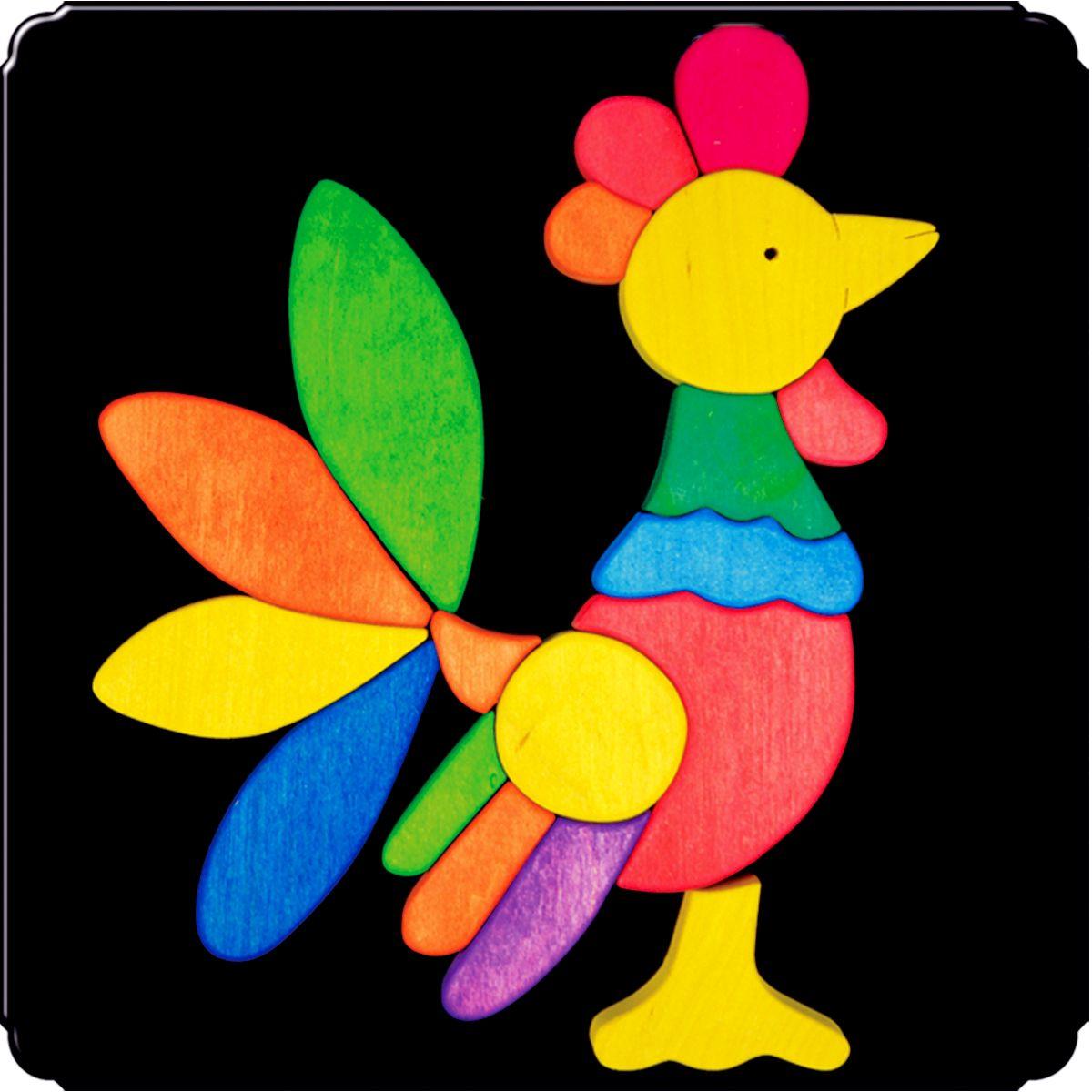 Деревяшкино Пазл для малышей Петух 115115Красочная игрушка-головоломка из натурального дерева на магнитной доске. Незаменима в машине, поездке – в любом месте, где Вашему малышу удобно играть. Удивительный мир ярких красок и фантазий везде с Вами! Каждая деталька мозаики крепко держится на магнитной доске. Ваш юный фантазер сможет не только решить сложную задачу: собрать головоломку как на картинке, но и, используя фантазию, сможет создать уникальные и неповторимые композиции. Объединяйте несколько наборов – будет интереснее! Все детали выполнены из натурального дерева, окрашены безопасной пищевой краской. Деревянные игрушки дают возможность ощутить структуру, плотность, вес, запах материала. Ребенок получает правдивую информацию об окружающем мире. Развивает: мелкую моторику, абстрактное и логическое мышление, понимание цветов, геометрических форм. Методические рекомендации: объясните малышу почему детальки держатся на доске. Объясните как правильно собрать мозаику, но не помогайте в трудных местах. Попросите ребенка...