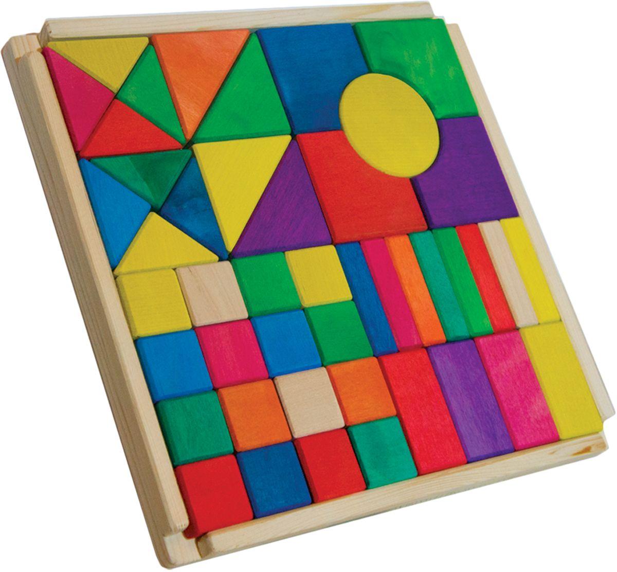 Деревяшкино Кубики строительные 1,5 см124Развивающая деревянная головоломка-конструктор (средней степени сложности) подходит для мальчиков и девочек в возрасте от 3лет, состоит из 45 деталей. Можно раскладывать фигуры в заданной последовательности: круг, треугольник, квадрат; составлять объемные башенки из брусков, плоские картинки из кругов или квадратов разного размера, елки — из треугольников. Собирать фигуры одного цвета или одного размера. Дети знакомятся с названиями, характерными признаками и формой геометрических фигур. Развивают координацию, фантазию, пространственное мышление, обучают элементарным вещам: почему что-то стоит, а что-то падает и т.д. Экологически чистый продукт: изготовлено из массива березы. Игрушка раскрашена пищевой водостойкой краской, что делает взаимодействие с изделием абсолютно безопасным: никаких лаков, «химии» или добавок.