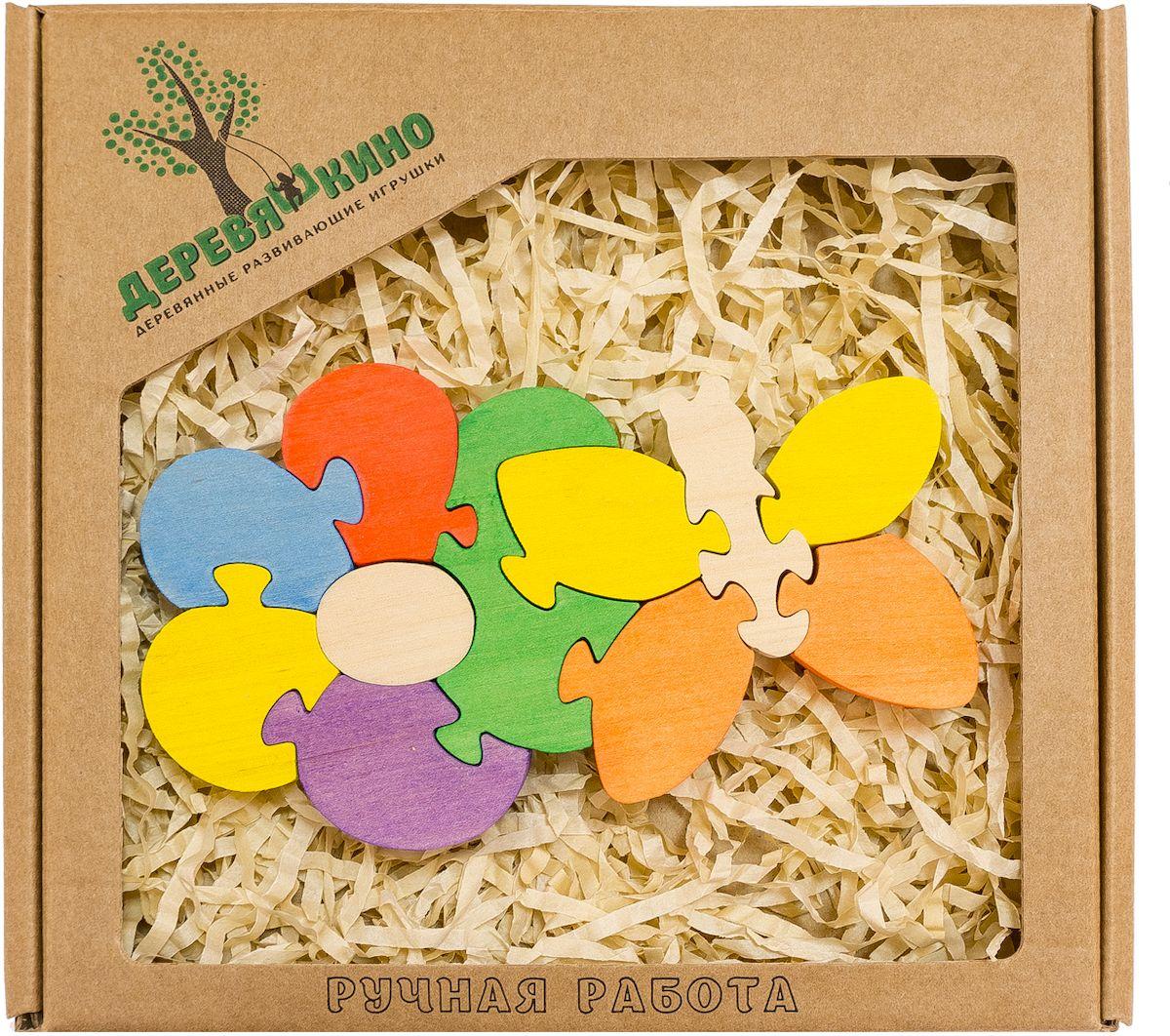 Деревяшкино Пазл для малышей Цветок с бабочкой283Развивающая деревянная головоломка Цветок с бабочкой (средней степени сложности) подходит для мальчиков и девочек в возрасте 3-5лет, состоит из 11 деталей. Экологически чистый продукт: изготовлено вручную из массива березы. Игрушка раскрашена пищевой водостойкой краской, что делает взаимодействие с изделием абсолютно безопасным: никаких лаков, «химии» или добавок. Процесс сборки деревянных пазлов развивает: тактильную сенсорику, внимательность, усидчивость, пространственное мышление, мелкую моторику, а так же учит различать элементы по цвету, форме и размеру. С продукцией компании Деревяшкино, Ваши детки развиваются, играя без риска для здоровья.