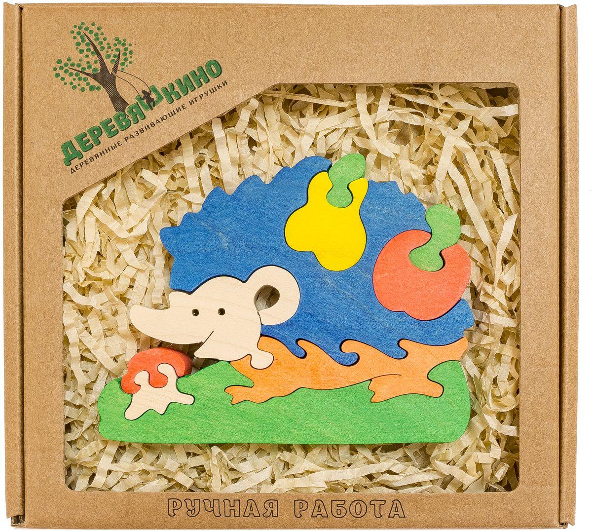 Деревяшкино Пазл для малышей Ежик с грушей554Развивающая деревянная головоломка Ёжик с грушей (средней степени сложности) подходит для мальчиков и девочек в возрасте 3-5лет, состоит из 10 деталей. Экологически чистый продукт: изготовлено вручную из массива березы. Игрушка раскрашена пищевой водостойкой краской, что делает взаимодействие с изделием абсолютно безопасным: никаких лаков, «химии» или добавок. Процесс сборки деревянной головоломки развивает: тактильную сенсорику, внимательность, усидчивость, пространственное мышление, мелкую моторику, а так же учит различать элементы по цвету, форме и размеру. С продукцией компании Деревяшкино, Ваши детки развиваются, играя без риска для здоровья. !