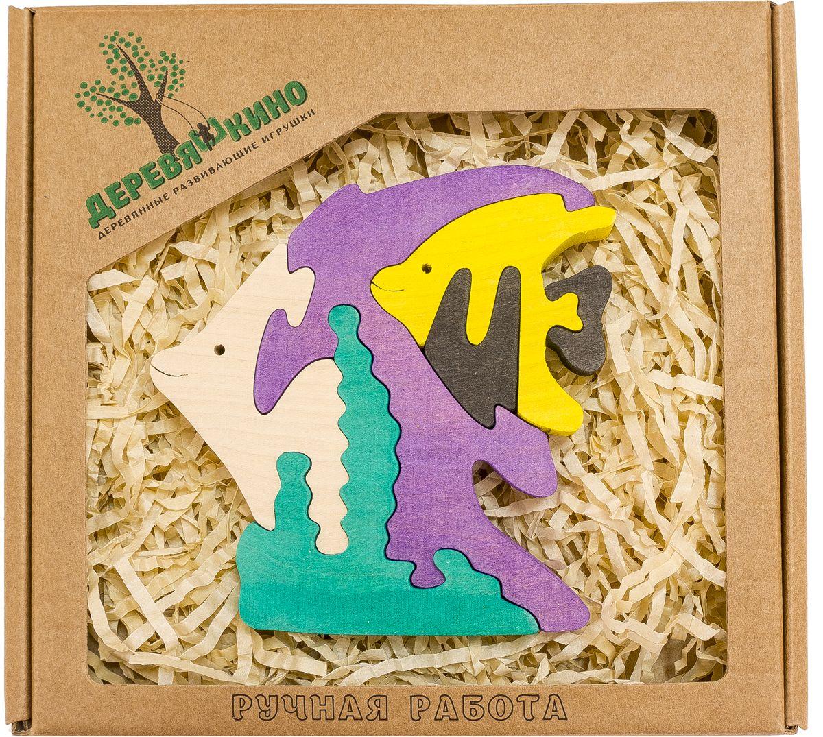 Деревяшкино Пазл для малышей Рыбки559Развивающая деревянная головоломка Рыбки (средней степени сложности) подходит для мальчиков и девочек в возрасте 3-5лет, состоит из 6 деталей. Экологически чистый продукт: изготовлено вручную из массива березы. Игрушка раскрашена пищевой водостойкой краской, что делает взаимодействие с изделием абсолютно безопасным: никаких лаков, «химии» или добавок. Процесс сборки деревянной головоломки развивает: тактильную сенсорику, внимательность, усидчивость, пространственное мышление, мелкую моторику, а так же учит различать элементы по цвету, форме и размеру. С продукцией компании Деревяшкино, Ваши детки развиваются, играя без риска для здоровья.