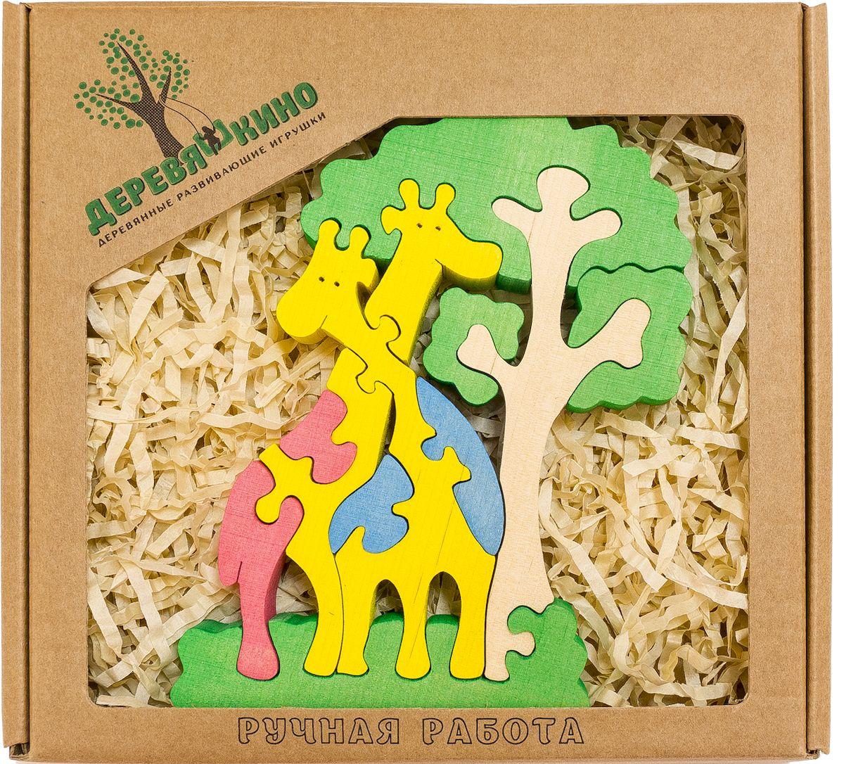 Деревяшкино Пазл для малышей Жирафы и дерево560Развивающая деревянная головоломка Жираф и Дерево (средней степени сложности) подходит для мальчиков и девочек в возрасте 3-5лет, состоит из 11 деталей. Экологически чистый продукт: изготовлено вручную из массива березы. Игрушка раскрашена пищевой водостойкой краской, что делает взаимодействие с изделием абсолютно безопасным: никаких лаков, «химии» или добавок. Процесс сборки деревянной головоломки развивает: тактильную сенсорику, внимательность, усидчивость, пространственное мышление, мелкую моторику, а так же учит различать элементы по цвету, форме и размеру. С продукцией компании Деревяшкино, Ваши детки развиваются, играя без риска для здоровья.