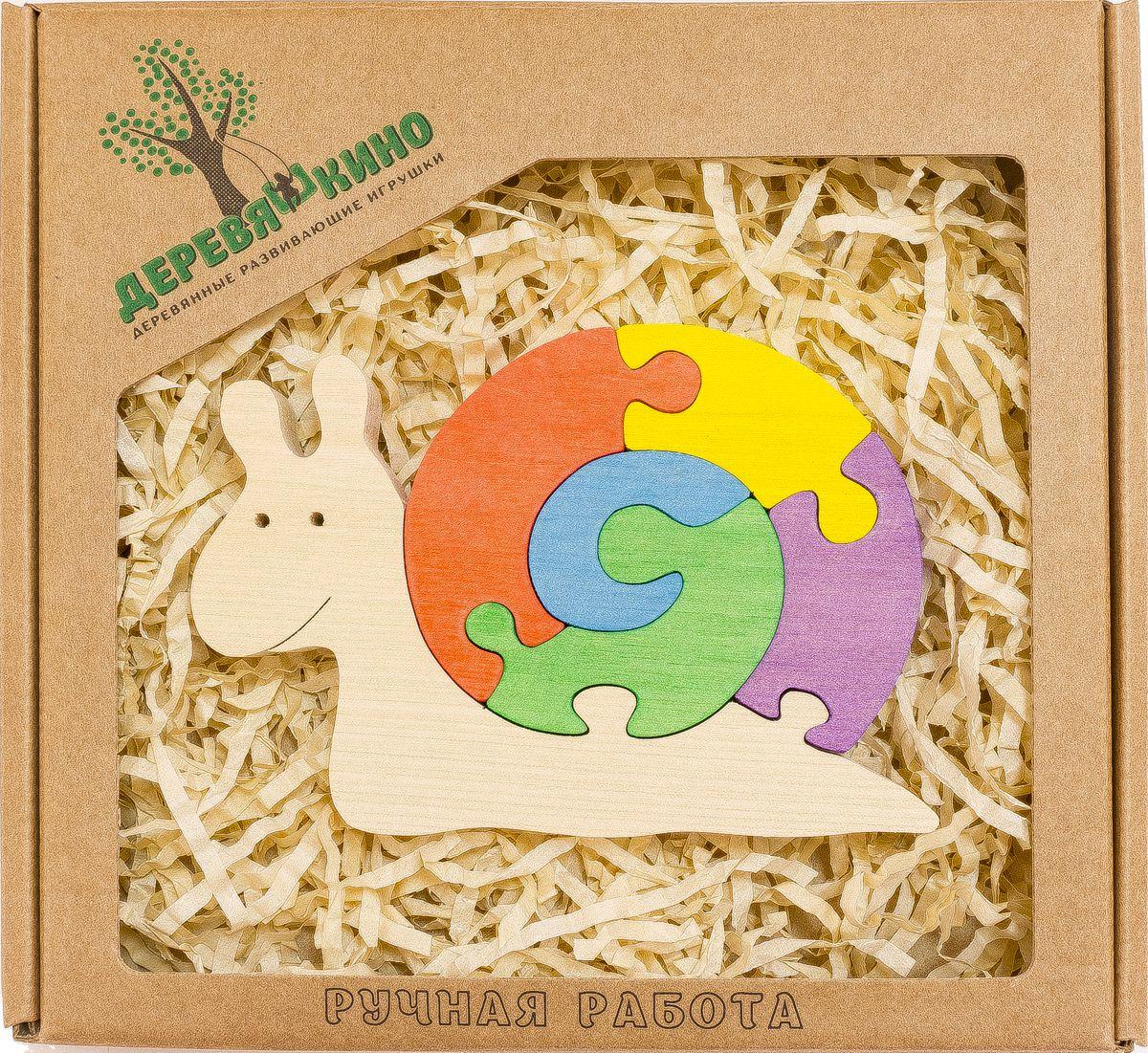 Деревяшкино Пазл для малышей Веселая улитка570Развивающая деревянная головоломка Весёлая улитка (средней степени сложности) подходит для мальчиков и девочек в возрасте 3-5лет, состоит из 6 деталей. Экологически чистый продукт: изготовлено вручную из массива березы. Игрушка раскрашена пищевой водостойкой краской, что делает взаимодействие с изделием абсолютно безопасным: никаких лаков, «химии» или добавок. Процесс сборки деревянной головоломки развивает: тактильную сенсорику, внимательность, усидчивость, пространственное мышление, мелкую моторику, а так же учит различать элементы по цвету, форме и размеру. С продукцией компании Деревяшкино, Ваши детки развиваются, играя без риска для здоровья.