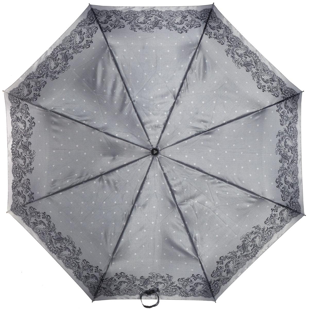 Зонт женский Fabretti, автомат, 3 сложения, цвет: серый. L-16104-21L-16104-21Зонт женский Fabretti, облегченный суперавтомат, 3 сложения